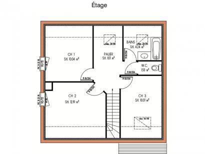 Plan de maison Avant-projet LA FLECHE - 92 m2 - 3 Chambres 3 chambres  : Photo 2