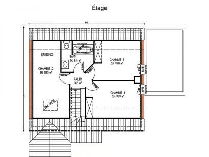 Plan de maison Avant-projet LA MILESSE - 92m2 - 4 Chambres 4 chambres  : Photo 2