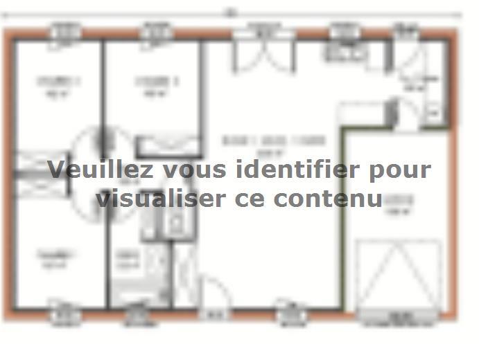 Plan de maison Avant-projet MAYET - 76 m2 - 3 Chambres : Vignette 1