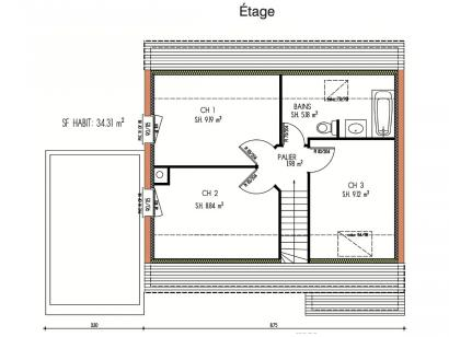 Plan de maison Avant-projet MULSANNE - 95 m2 - 4 Chambres 4 chambres  : Photo 2