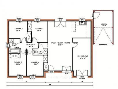 Plan de maison Avant-projet PRUILLE LE CHETIF - 103 m2 - 5 Chambr 5 chambres  : Photo 1