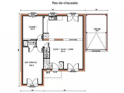 Plan de maison Avant-projet ROUILLON - 107m2 - 4 chambres 4 chambres  : Photo 1