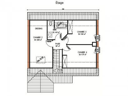 Plan de maison Avant-projet ROUILLON - 107m2 - 4 chambres 4 chambres  : Photo 2