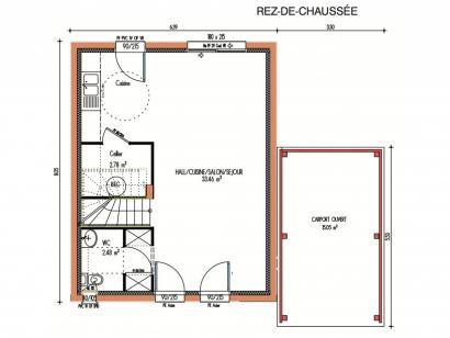 Plan de maison Avant-projet RUAUDIN - 75 m2 - 3 Chambres 3 chambres  : Photo 1