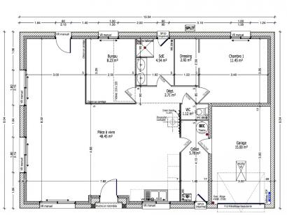 Plan de maison HELIANTHEME C1G-85 2 chambres  : Photo 1