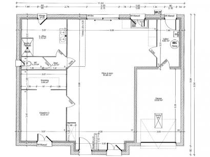 Plan de maison MYOSOTIS C1G-75 2 chambres  : Photo 1