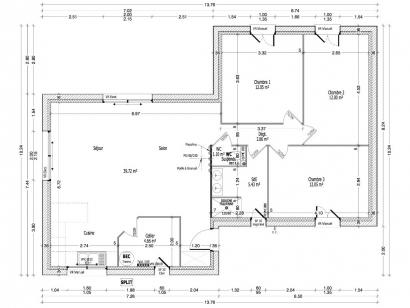 Plan de maison PERCE NEIGE C0-90 3 chambres  : Photo 1