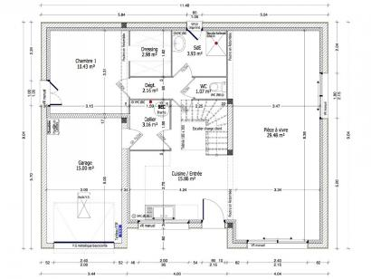 Plan de maison ACHILLEE C2G-117 4 chambres  : Photo 1