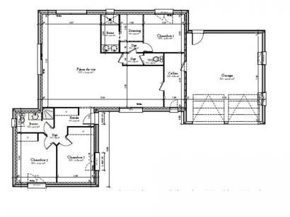Plan de maison AVANT PROJET CHAMPAGNE - PP 114 M² - 3 chambres 3 chambres  : Photo 1