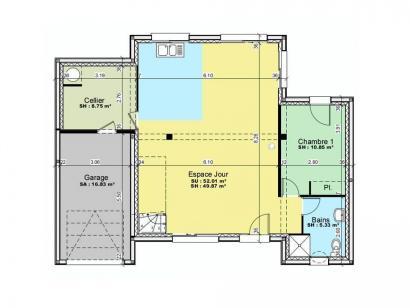 Plan de maison AVANT PROJET Lemans - 120 m² - 3 chambres 3 chambres  : Photo 1