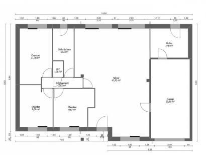 Plan de maison AVANT PROJET NEUVILLE - 3 chambres - plain-pied 3 chambres  : Photo 1