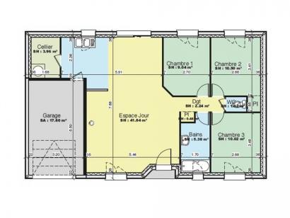 Plan de maison AVANT PROJET PARIGNE L'EVEQUE - 85 m² - 3 chambres 3 chambres  : Photo 1