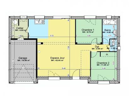 Plan de maison AVANT PROJET VIBRAYE - 76 m² - 2 ch CA 2 chambres  : Photo 1