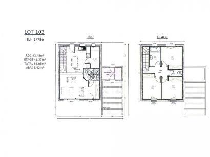 Plan de maison AVANT PROJET ZAC CARTOUCHERIE LE MANS - lot 103 - 3 chambres  : Photo 1