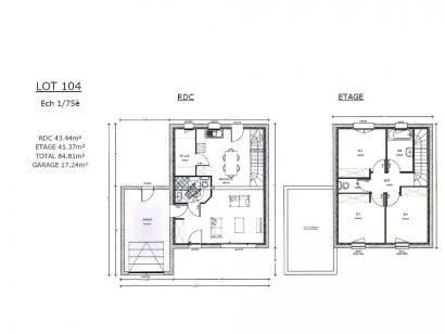 Plan de maison AVANT PROJET ZAC CARTOUCHERIE LE MANS - Lot 104 - 3 chambres  : Photo 1