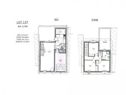Plan de maison AVANT PROJET ZAC CARTOUCHERIE LE MANS - Lot 137 - 3 chambres  : Photo 1