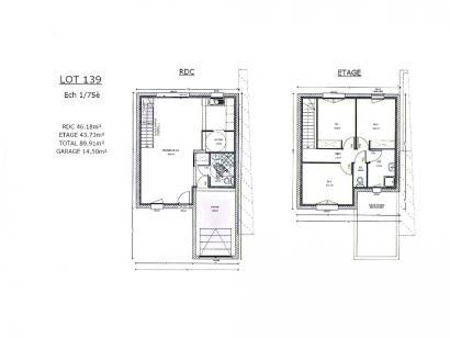 Plan de maison AVANT PROJET ZAC CARTOUCHERIE LE MANS Lot 139 - 90 3 chambres  : Photo 1