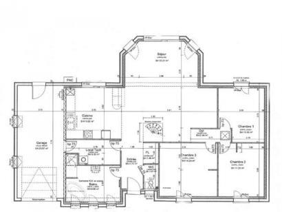 Plan de maison ETG_BW_GI_CA_110m2_3ch_P13345 3 chambres  : Photo 1