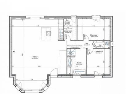 Plan de maison ETG_BW_SG_CA_91m2_2ch_P14238 2 chambres  : Photo 3