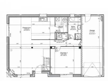 Plan de maison ETG_R_CA_GI_73m2_1ch_P13310 1 chambre  : Photo 2