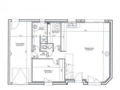 Plan de maison ETG_R_GI_CA_61m2_1ch_P14082 1 chambre  : Photo 1