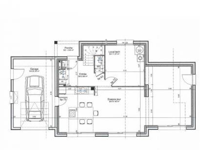 Plan de maison ETG_TT_GA_115m2_3ch_P13826 3 chambres  : Photo 2