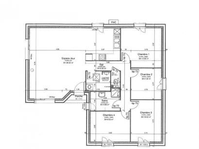 Plan de maison PLP_L_SG_94m2_4ch_P13265 4 chambres  : Photo 1