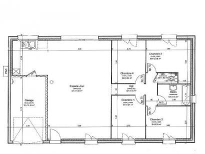 Plan de maison PLP_R_GI_97m2_4ch_P12885 4 chambres  : Photo 1