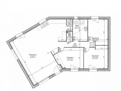 Plan de maison PLP_V_SG_97m2_3ch_P13507 3 chambres  : Photo 2